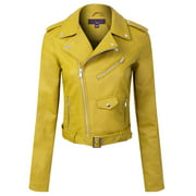Made by Olivia Women's Classic Slim Fit Faux Leather Zip Up Biker Jacket