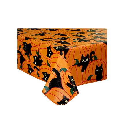 Halloween Tablecloth Vinyl Black Cat and Pumpkin Theme Flannel Back