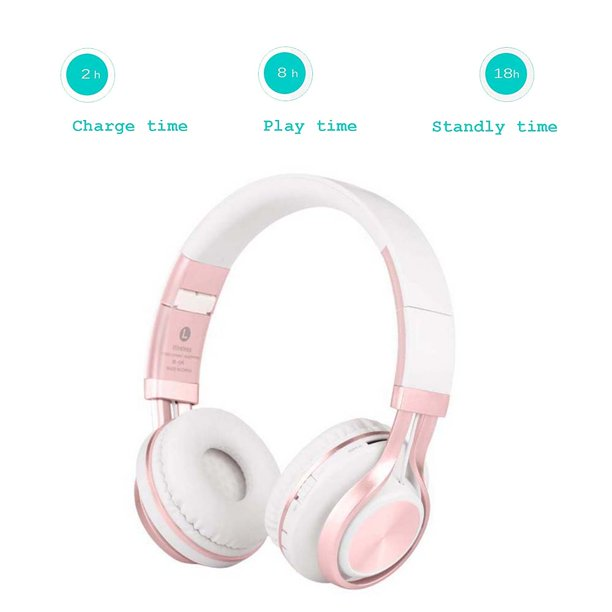 Wireless Bluetooth Headphones Over Ear With Mic And Volume Control Wireless And Wired Headset For Pc Cell Phones Tv Pad Pink Walmart Com Walmart Com