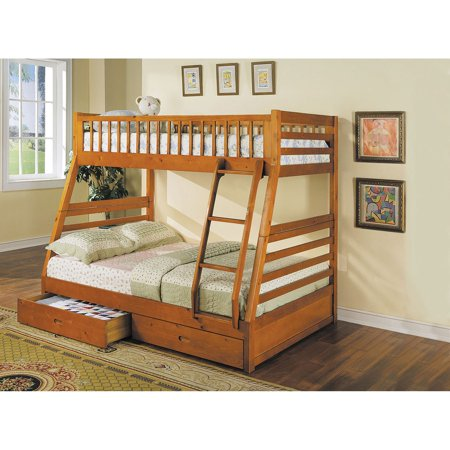 ACME Jason Twin over Full Bunk Bed with 2 Drawer in Honey Oak, Multiple Colors