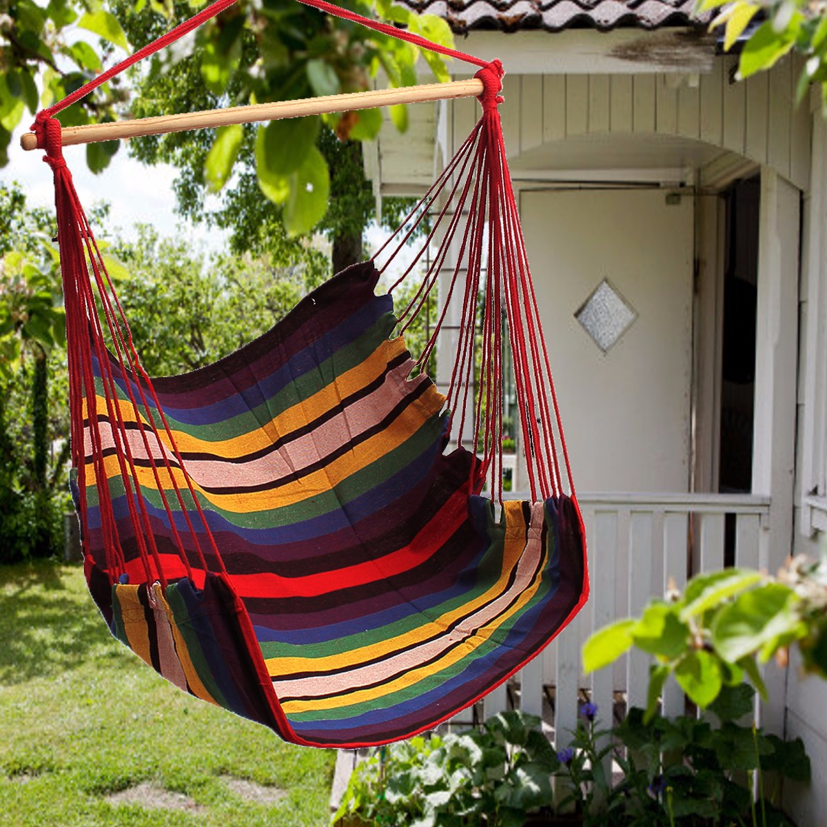 53.2 x 35.5 inches Outdoor Hanging Swing Cotton Hammock Chair Hammocks Seat Cushion Solid Rope Yard Patio Porch Garden