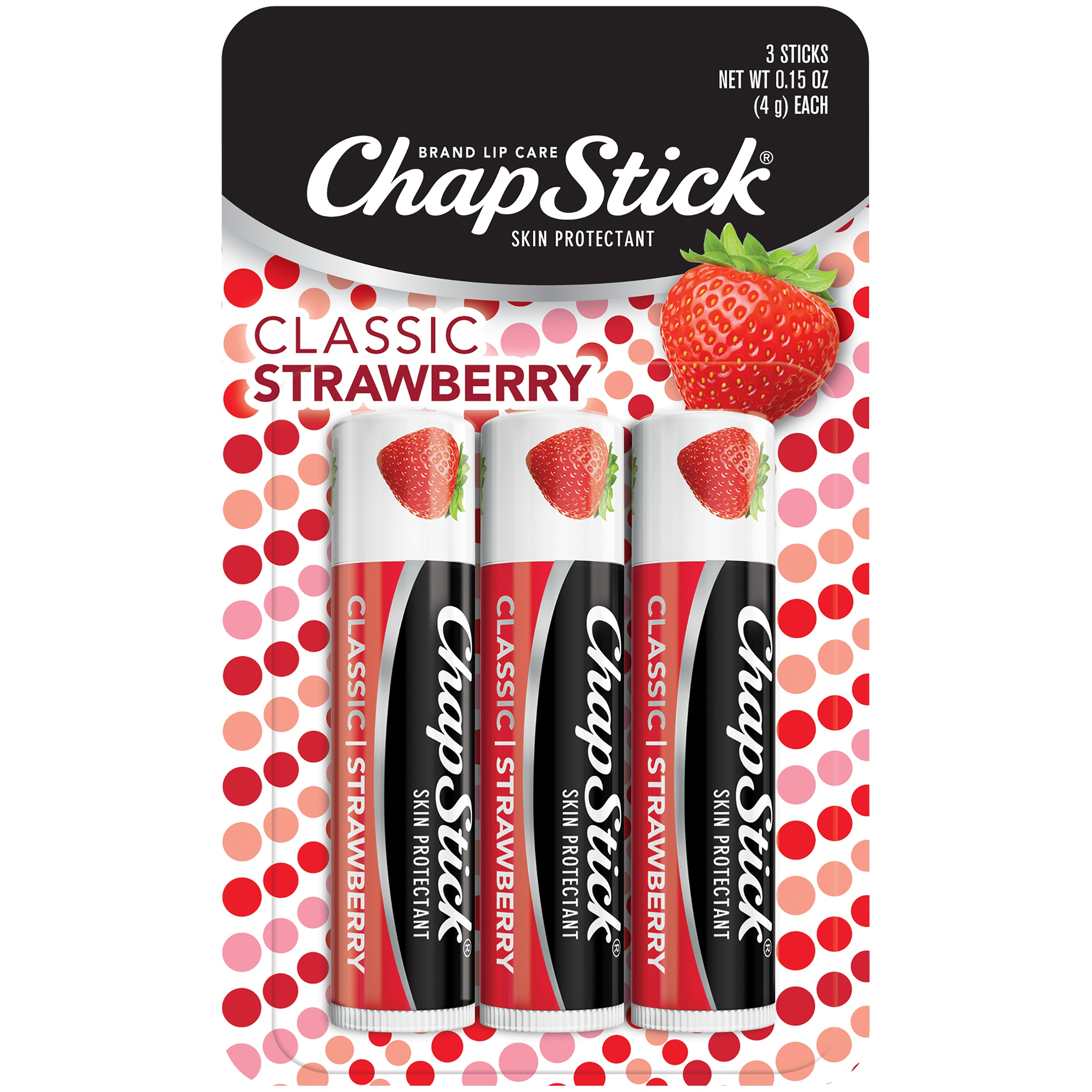 Chapstick Classic Lip Balm Strawberry 3 Count Walmart Inventory