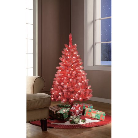 Holiday Time Pre-Lit 4' Red Tinsel Artificial Christmas Tree ...