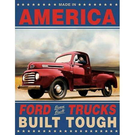 Ford Trucks Built Tough Retro Vintage Tin Sign Tin Sign - 12.5x16
