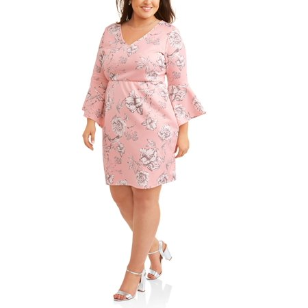 Women's Plus Blush Floral Bell Sleeve Dress - Plus Size Bell Bottoms
