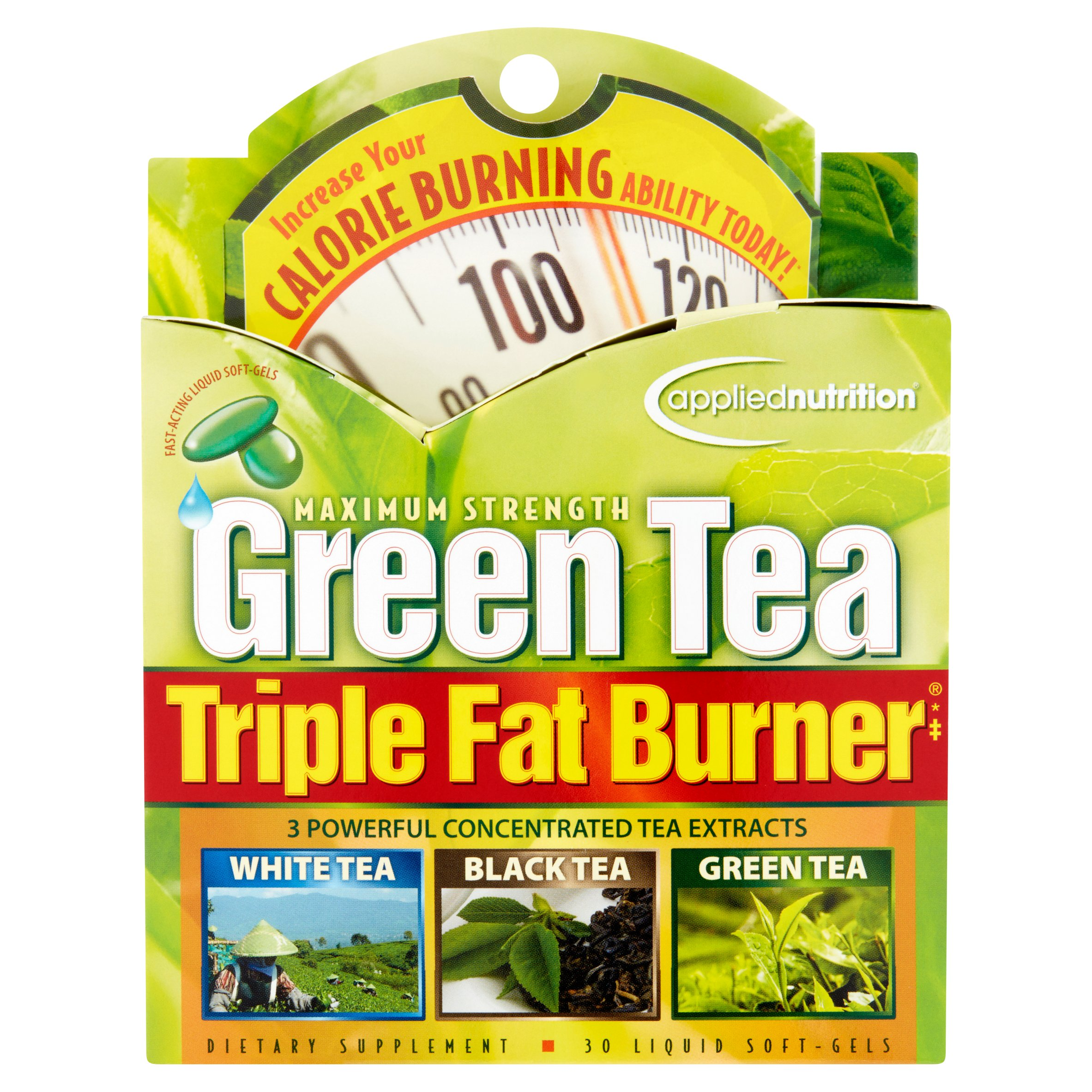 Applied Nutrition Maximum Strength Green Tea Triple Fat Burner Weight Loss Liquid Soft-Gels, 30 Ct