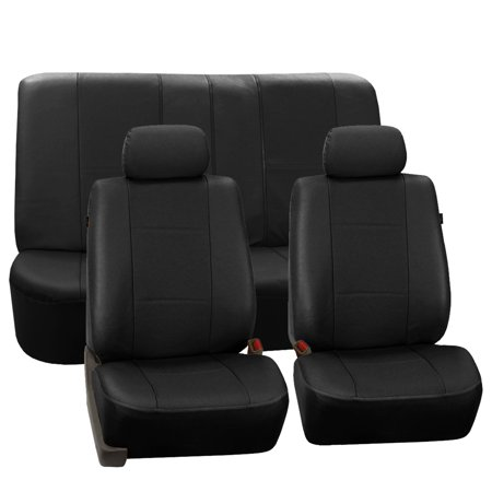 FH Group Black Deluxe Faux Leather Airbag Compatible and Split Bench Car Seat Covers, 2 Headrest Full Set