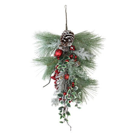 Northlight Frosted Red Bells Berries and Pine Cones Artificial Pine Christmas Door Swag - - Frosted Berry