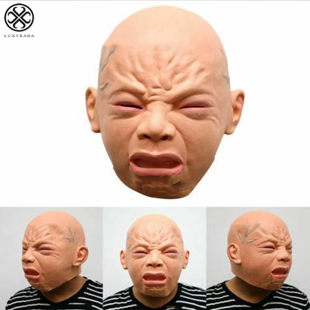 Pizza Head Show Halloween (Luxtrada Halloween Holiday Party Crying Baby Face Latex Head Mask Prank Props)