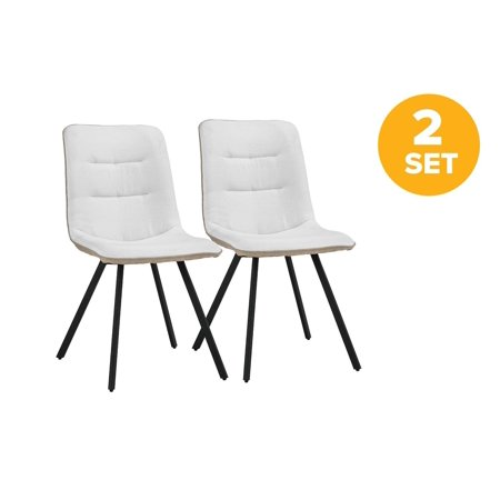 Set of 2 Dining Chairs Linen Fabric Cushion Kitchen Chairs ...