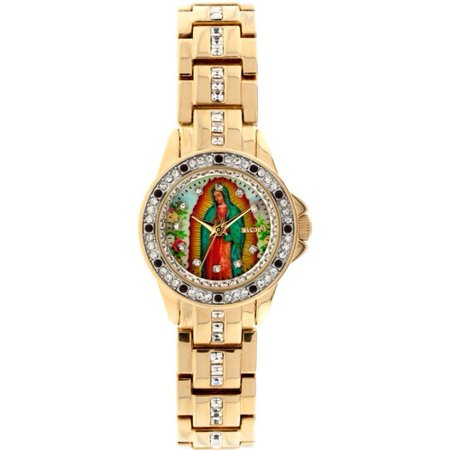 Gold Tone Floating Crystal Watch - Lady of Guadalupe Graphic Dial Crystal Accented Gold-Tone Watch