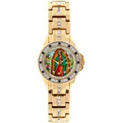 Lady of Guadalupe Graphic Dial Crystal Accented Gold-Tone Watch