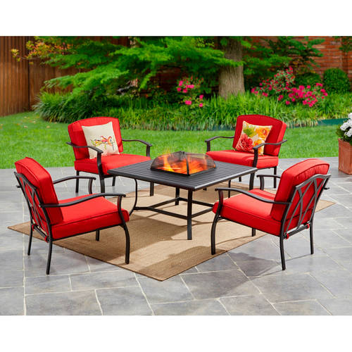 fire pit table with chairs walmart. mainstays belden park 5-piece fire pit set, red table with chairs walmart s