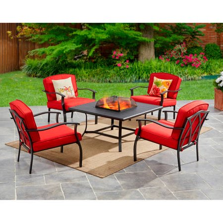 Mainstays Belden Park 5-Piece Fire Pit Set, Red (Conversation Sets With Fire Pit)
