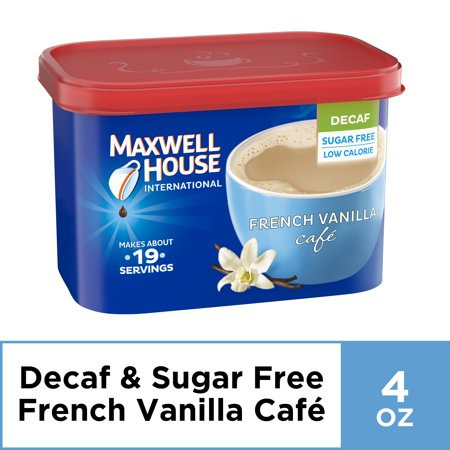Maxwell House International Decaf Sugar-Free French Vanilla Cafe Instant Coffee, 4 oz Canister