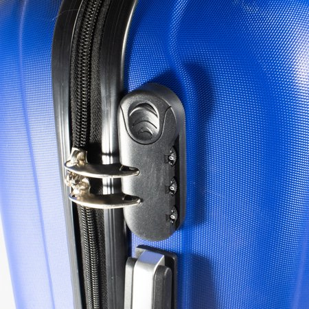 3a21919df171 ALEKO ABS Luggage Travel Suitcase Set with Lock 3 Piece Embossed Stripe Blue