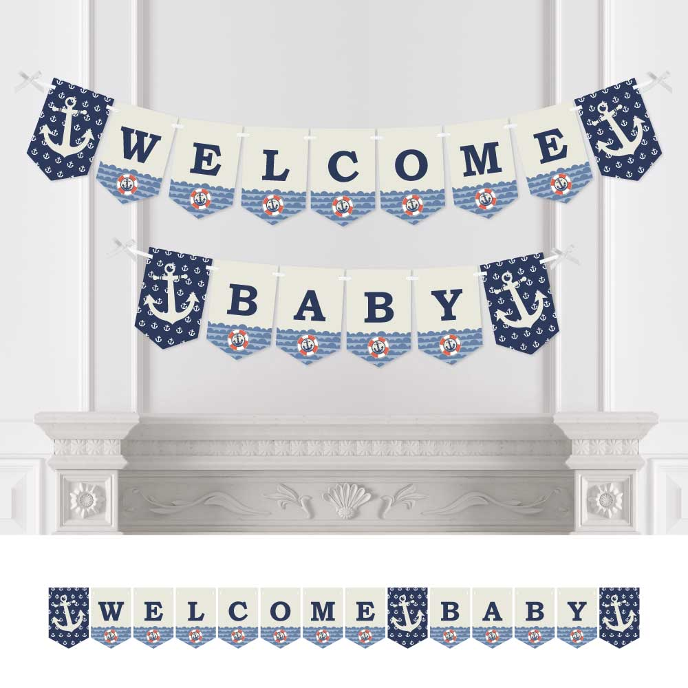 Ahoy - Nautical - Baby Shower Bunting Banner - Anchor Party Decorations - Welcome Baby