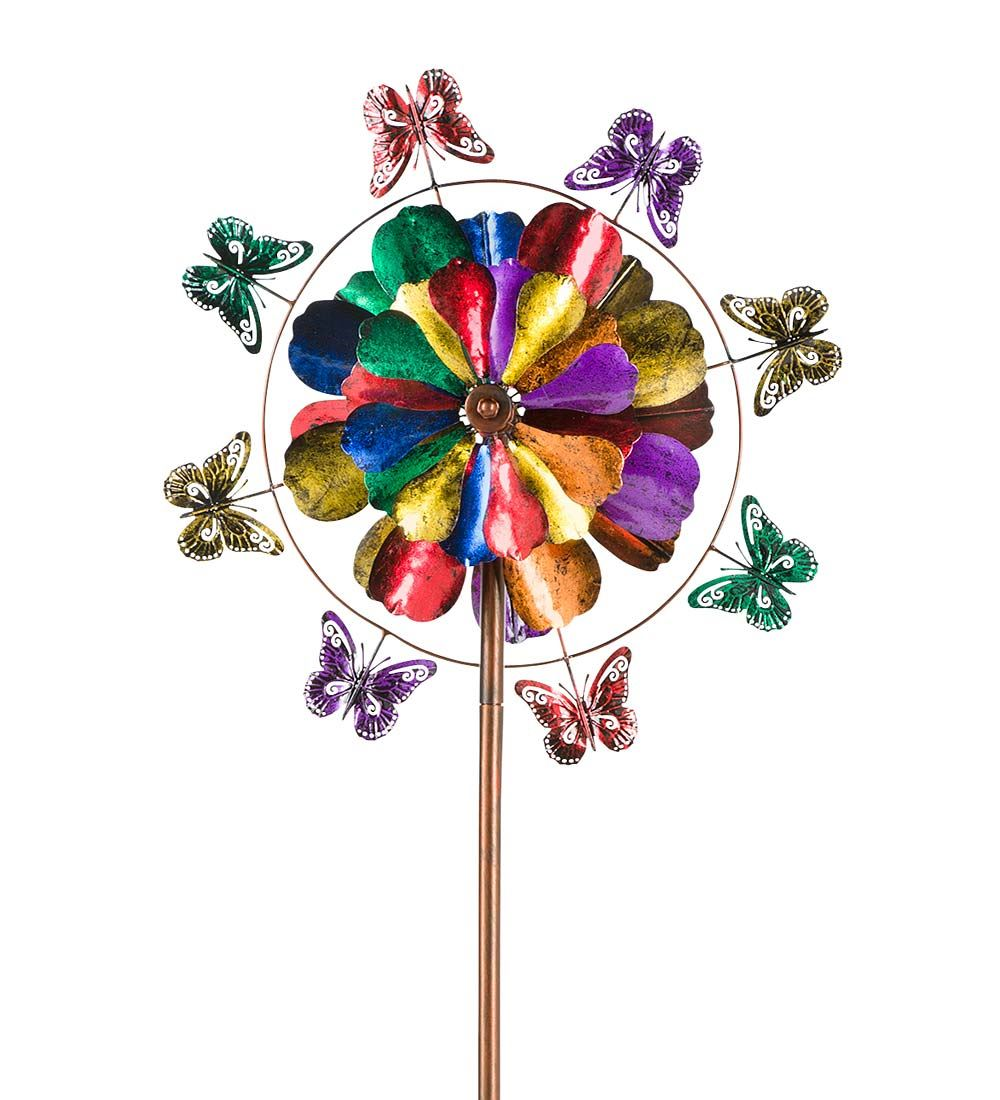 Wind & Weather 5-Tier Flower And Butterfly Metal Wind Spinner for Gardens by Wind Spinners