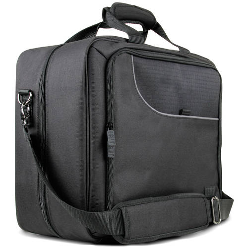 Universal Portable Electronics Carrying Case with Custom Storage Compartments , Adjustable Shoulder Strap & Padded Interior by USA GEAR  Works w/ Tablets , Laptop Computers , Travel Projectors & More