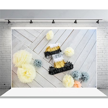 HelloDecor Polyster 7x5ft 1st Birthday Backdrop Paper Flower Decoration Photography Background Baby Girl Kid Infant Artistic Portrait Party Wood Floor Photo Shoot Studio Props Video - Halloween Photo Shoot Ideas For Infants