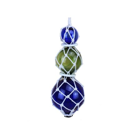 Blue - Green - Blue Japanese Glass Ball Fishing Floats with White Netting Decoration 11