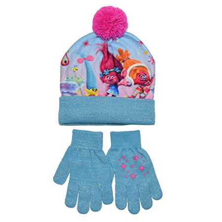 9e7e4518bcc Dreamworks - Trolls Movie Girls Youth Beanie Hat and Gloves Set (Little  Kid Big Kid) - Walmart.com