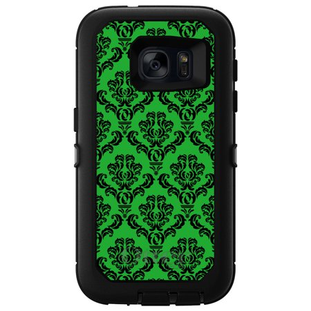 DistinctInk™ Custom Black OtterBox Defender Series Case for Samsung Galaxy S7 - Green Black Damask Pattern