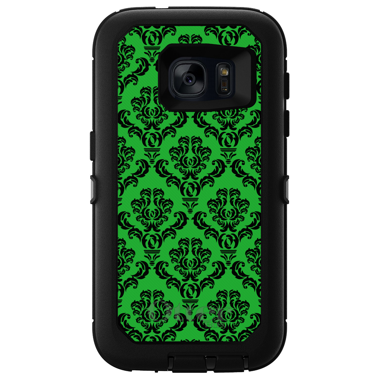 DistinctInk™ Custom Black OtterBox Defender Series Case for Samsung Galaxy S7 - Green Black Damask Pattern
