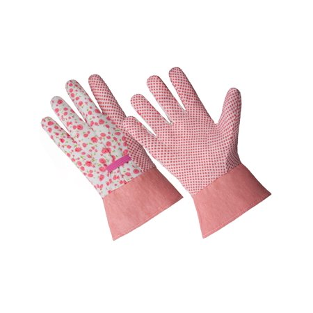 Poly Cotton Canvas Gloves - CT7611-S/M, Ladies Poly/Cotton Blend Glove With PVC Dot and Band Cuff