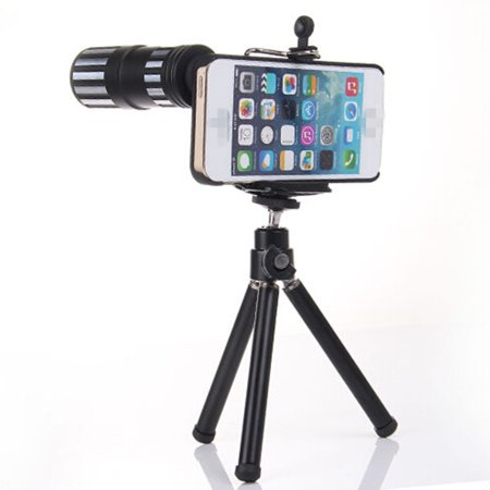 newest 1abb3 530ce 12x Zoom Lens Telephoto Lens with Tripod Mount + Back Case for iPhone 6  Plus 5.5