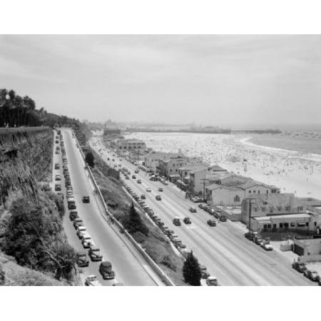 Usa California View Of Motorway Along Santa Monica Beach Poster Print