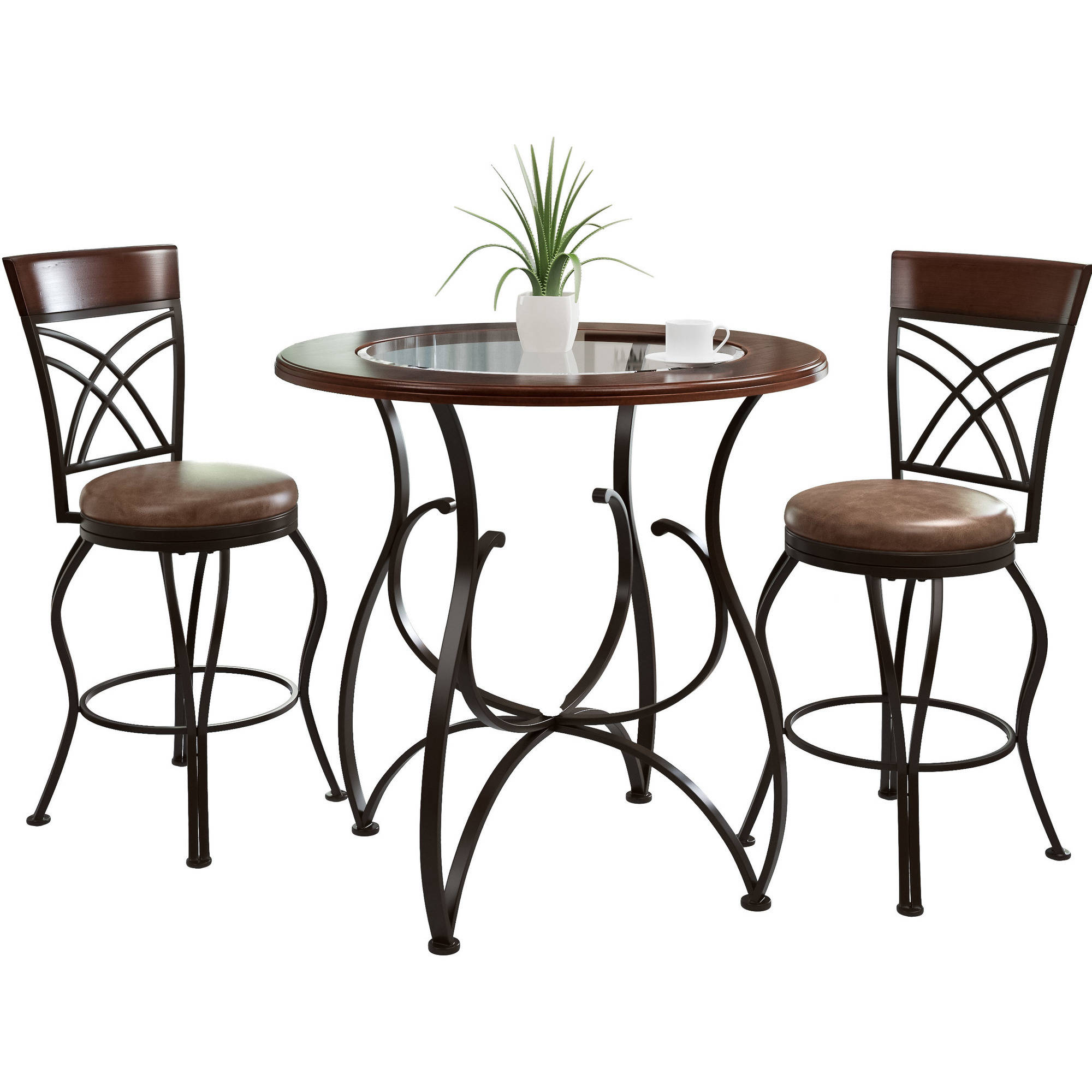 CorLiving Jericho 3 Piece Counter Height Rustic Brown Barstool And Bistro  Table Set