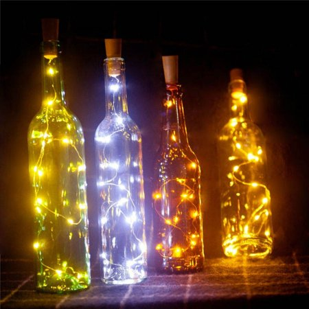 20 LED Wine Bottle Cork Lights Copper Wire String Lights, 5 Pack 2 Meter/7.2 Feet Battery Operated Starry Fairy Lights for Bottle DIY, Wedding and Party Decoration Without Bottle (Warm White)