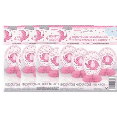 (4 Pack) Unique Elephant Baby Shower Centerpiece Decorations, 6 in, Pink, 4ct - Batman Baby Shower Decorations