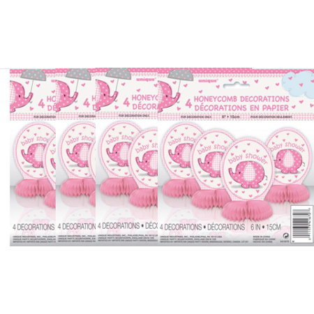 (4 Pack) Unique Elephant Baby Shower Centerpiece Decorations, 6 in, Pink, 4ct