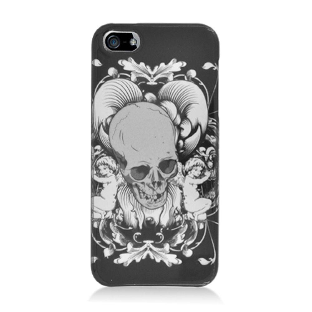 Insten Skull Hard Cover Case For Apple iPhone 5S 5 SE - Black/White - image 2 de 3