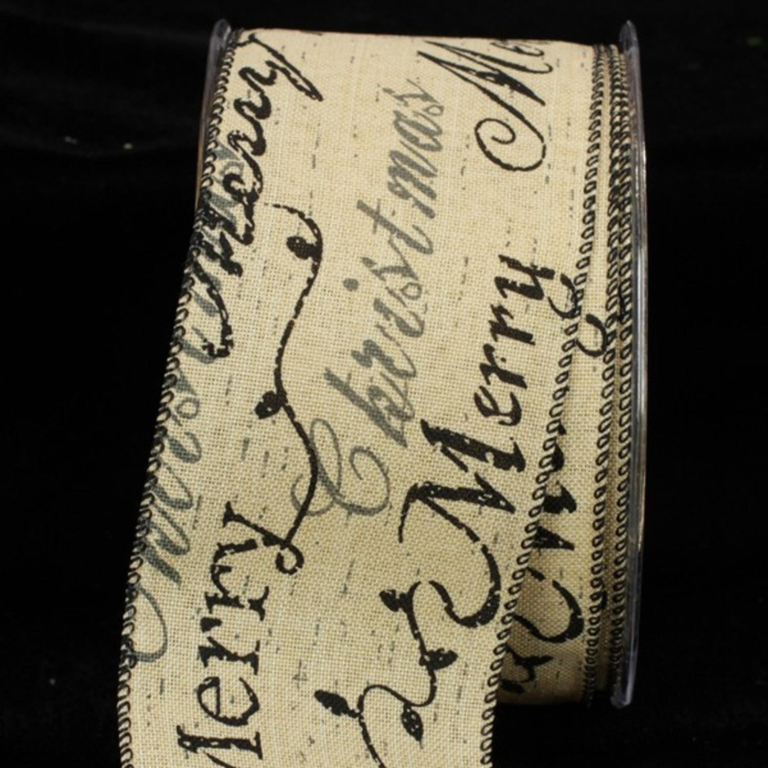 "Pack of 2 Classic Cream Holiday Black and Gray Script Wired Ribbon 2.5"" x 40 yards"