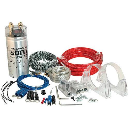 Scosche KPCA4 1600W 4-Gauge Car Amplifier Install Kit with 0.05F Stiffening Cap