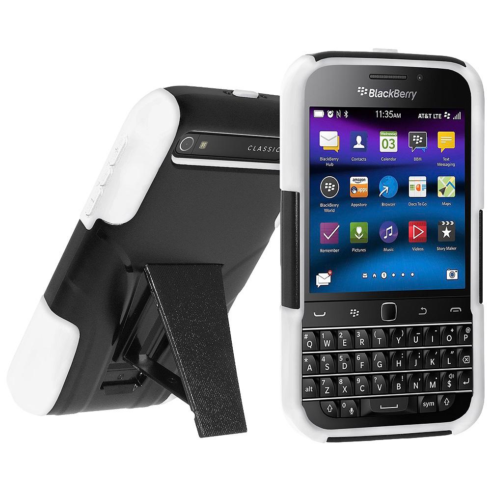 Premium Dual Layer Hybrid Hard Case Soft Rubber Silicone Skin Cover for BlackBerry Classic - Black/White