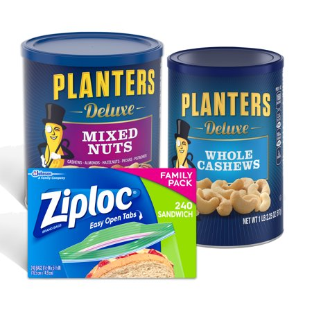 Go Nuts Bundle: Planters Deluxe Mixed Nuts, Deluxe Whole Cashews, & Ziploc Sandwich Bags