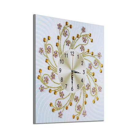 OkrayDirect 5D Special Diamond-Shaped Embroidery Wall Clock DIY Painting Diamond Cross Stitc ()