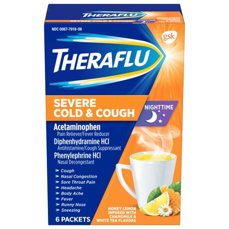 Cold Relief Cough Drop (Theraflu Nighttime Severe Cold & Cough Honey Lemon Infused with Chamomile & White Tea Hot Liquid Powder for Cough & Cold Relief, 6 count)
