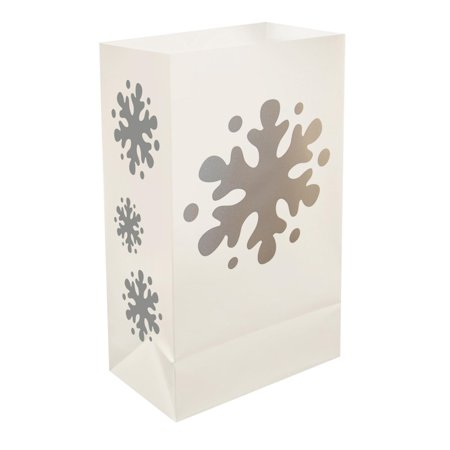 12 Traditional Weather Resistant Festive Winter Snowflake Luminaria Bags 10