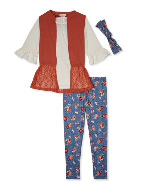 Forever Me Girls Rayon Twill Vest, Ruffle Sleeve Tunic, and Floral Printed Leggings with Headband, 3-Piece Outfit Set, Sizes 4-12