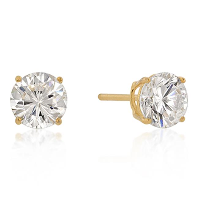 Kate Bissett E01736GS-S01-7MM 7mm New Sterling Round Cut CZ Studs Gold