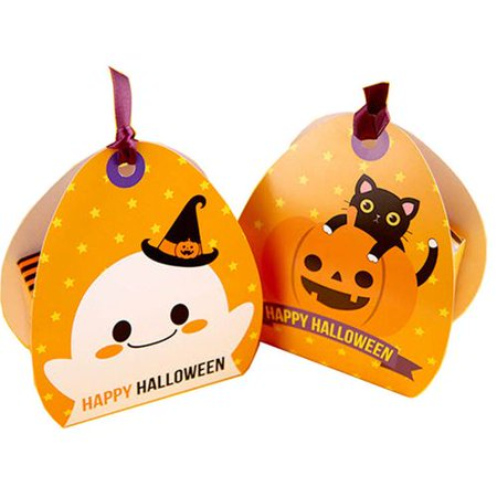 Halloween Pumpkin Cupcake Ideas (KABOER 5Pcs Halloween Candy Box with Pumpkin Ghost Decor Cupcake Boxes Gift Boxes Cookie Treat Boxes for Halloween Party Supplies(No)