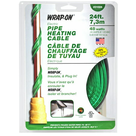 Wrap-On Pipe Heating Cables, w/Thermostat, 120 V, Green