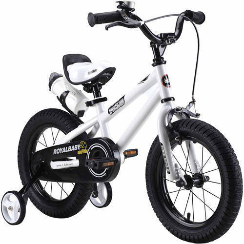 RoyalBaby BMX Freestyle Kids Bike, Boy's Bikes and Girl's Bikes with training wheels, Gifts for children, 14 inch wheels, White