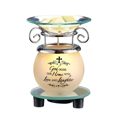 Lighted 'God Bless Our Home' Plug-In Wax Melt Warmer, Tabletop Decoration for Any Room in