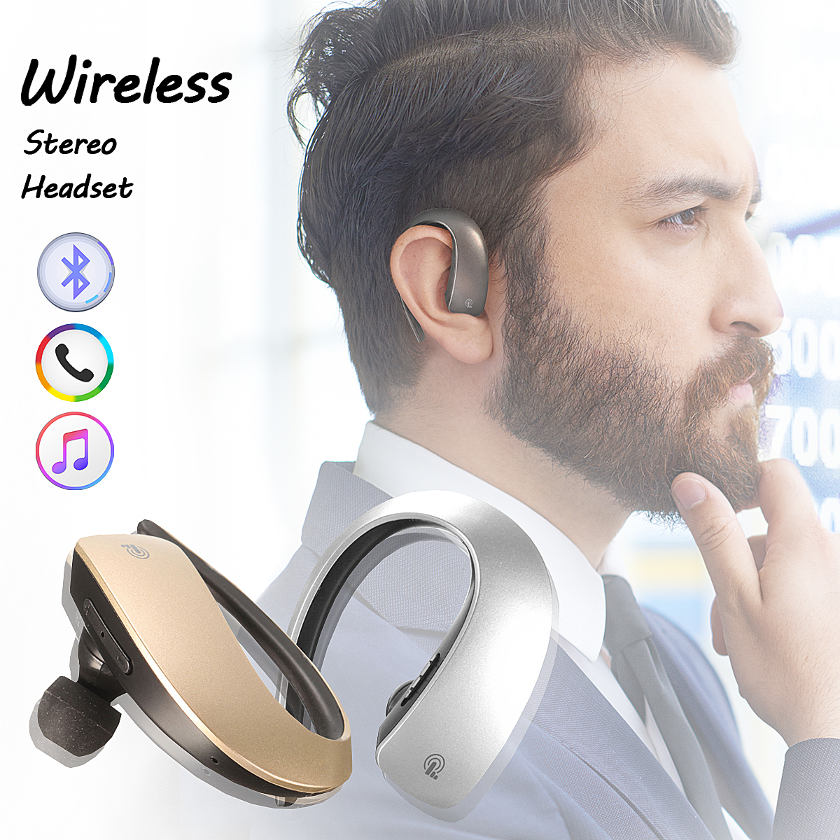 Fashsion Wireless Bluetooth V4.1 Earhook Handsfree Sports Stereo Headset Earphone Earbud [Color: Gray, Silver, Gold]